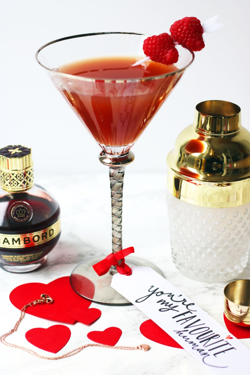 This twist on a French Martini swaps vodka for gin and vermouth. Garnished with fresh raspberries this Chambord cocktail is perfect for Valentines Day! Get the recipe at Supper in the Suburbs!