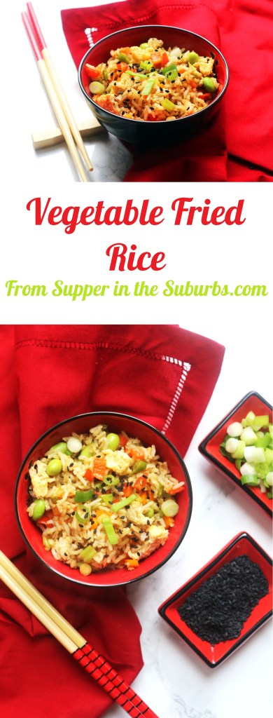 Vegetable fried rice is an easy all in one lunch or dinner. Get the recipe at Supper in the Suburbs!