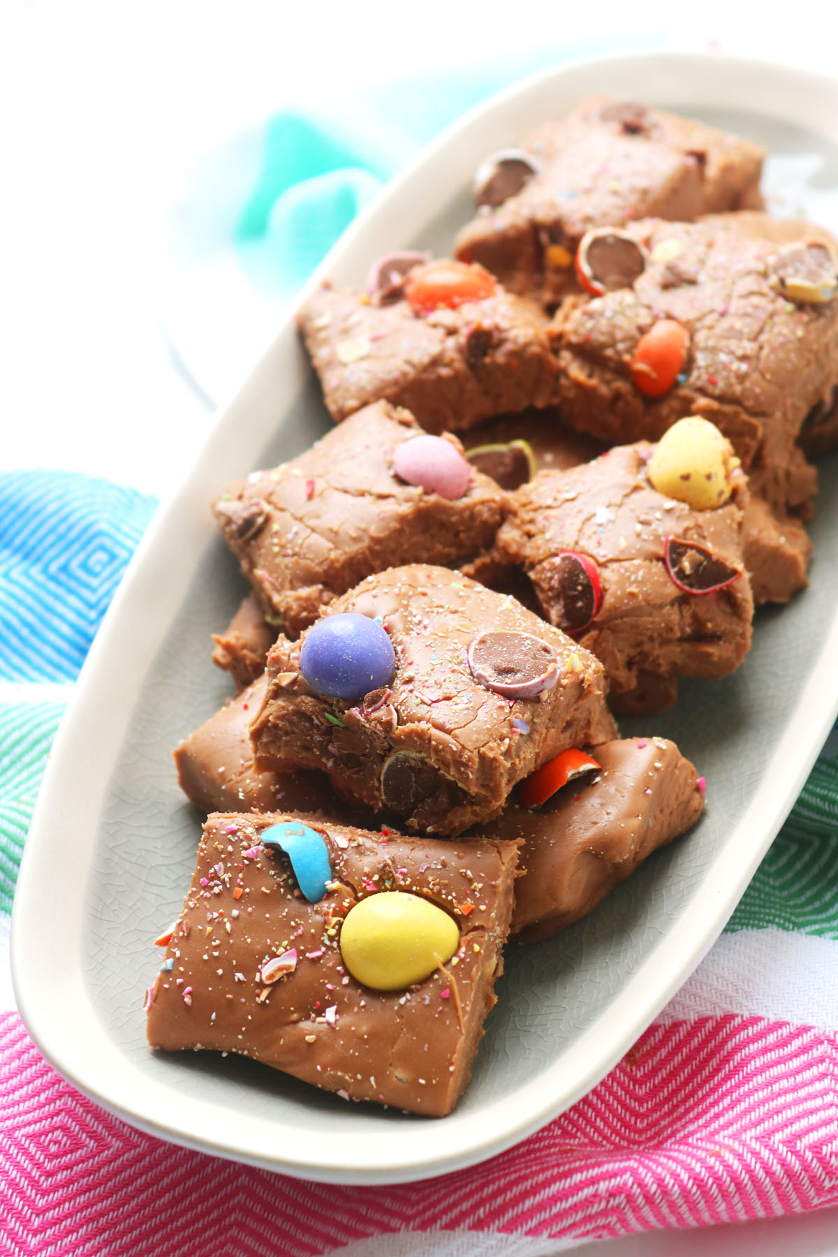 This chocolate Easter fudge is made with chocolate, condensed milk, butter and icing sugar. Add your favourite Easter candies!