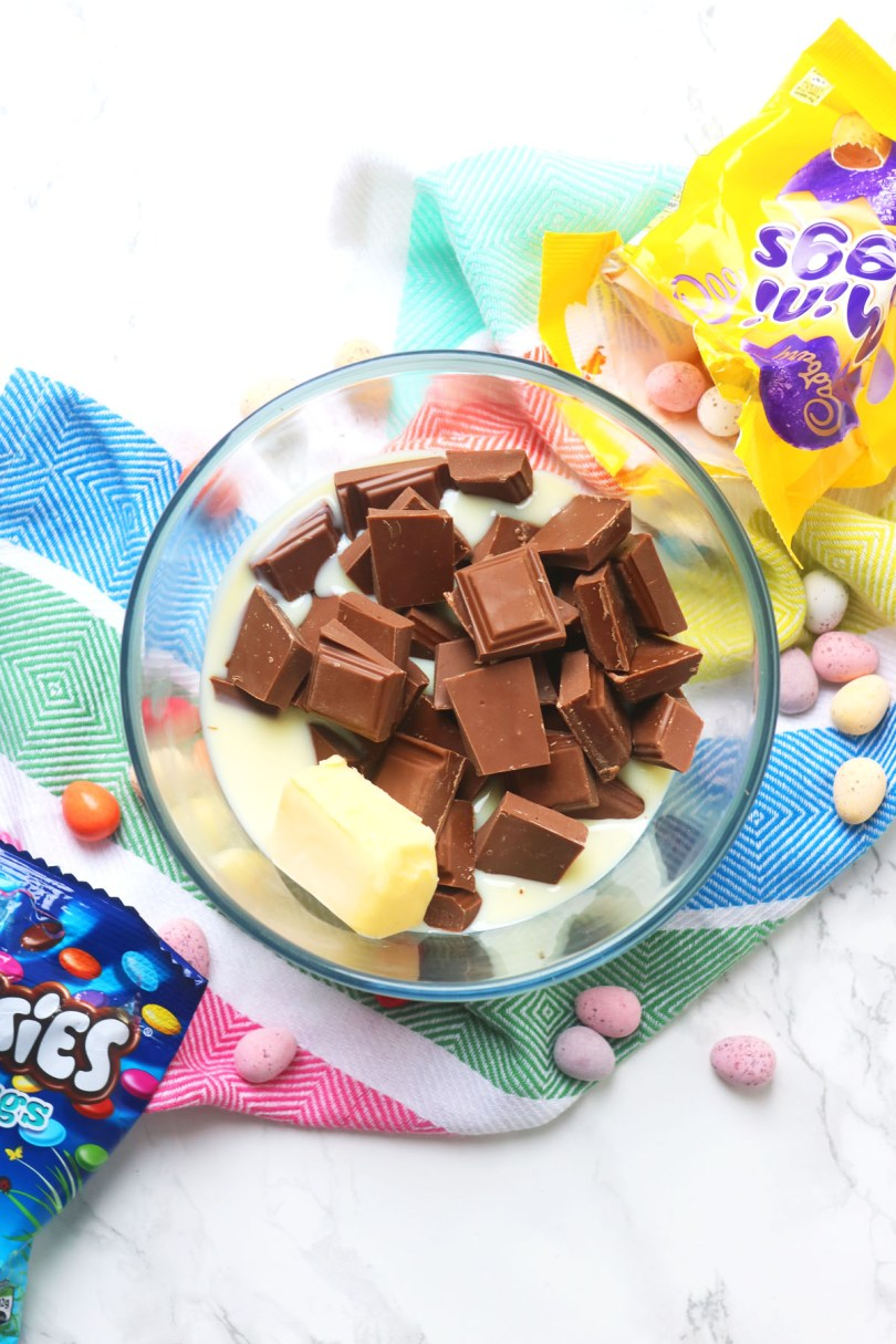 This Easter Fudge is incredibly easy to make in the microwave with just butter, condensed milk and chocolate