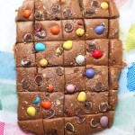 Chocolate Easter fudge cut into squares