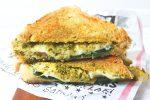 Triangle cut artichoke and pesto cheese toastie