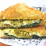 Triangle cut artichoke and pesto cheese toastie