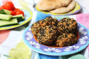 Sesame Crusted Falafel served with pitta and pickled vegetables