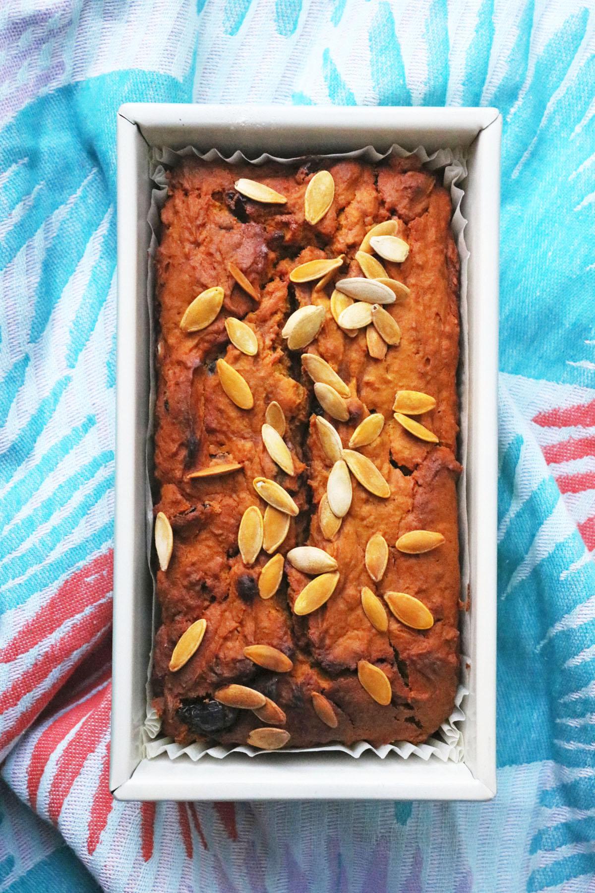 Sweet Pumpkin Bread with pumpkin seeds