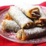 A plate of filo pastry mince pie rolls, perfect for Christmas entertaining