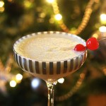 Snowflake cocktail with cherries