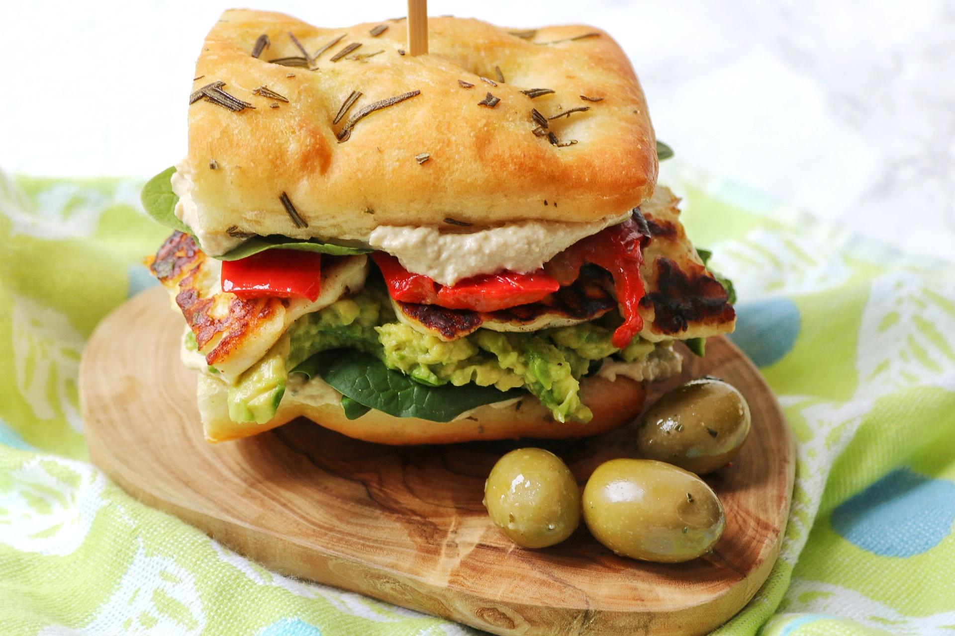 Hummus and Halloumi, Focaccia Sandwich
