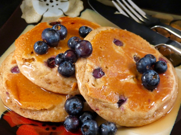 Blueberry Whole Wheat Pancakes Plated