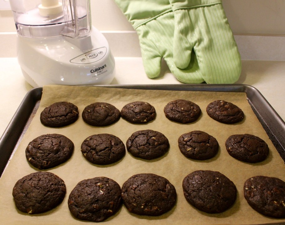 Chewy Chocolate Mint Cookies out of oven