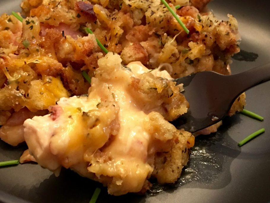 Chicken Cordon Bleu Casserole with Stuffing Plated Ready to eat