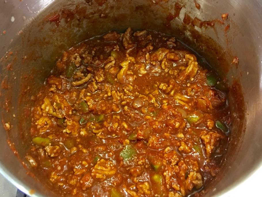 Guinness Chili in a soup pot simmering