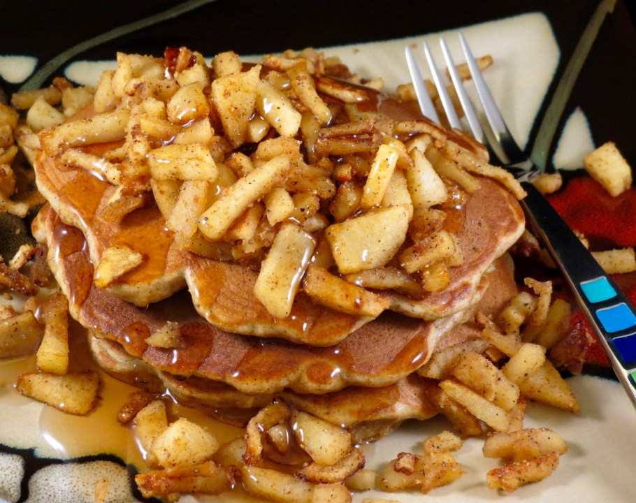 Apple Cinnamon Pancakes Served with syrup