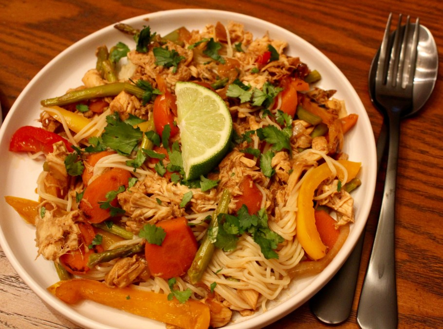 Easy Chicken Stir Fry with Chinese Thin Noodles on a white plate
