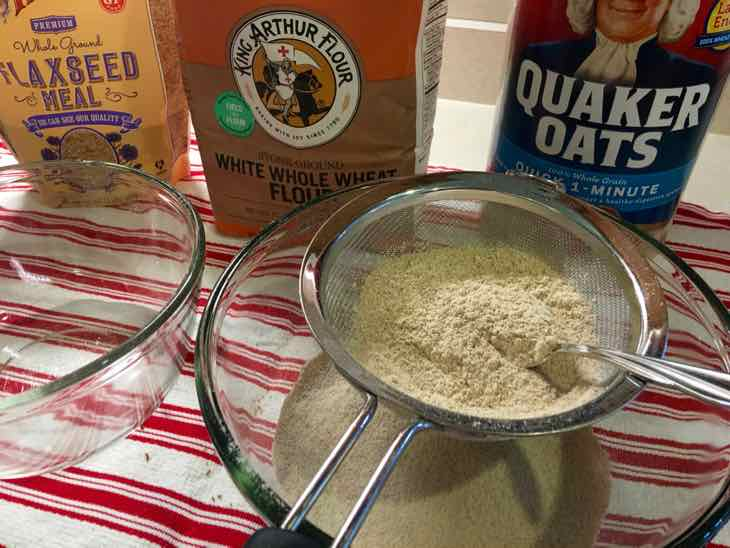 Healthy Oatmeal Raisin Cookie sifting ingredients