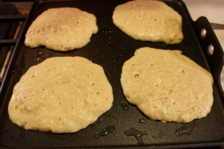 Whole Wheat Buttermilk Pancakes on a Griddle
