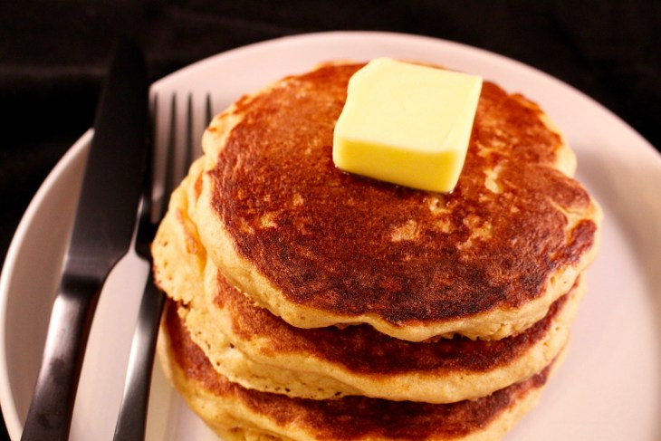 Whole Wheat Buttermilk Pancakes plated