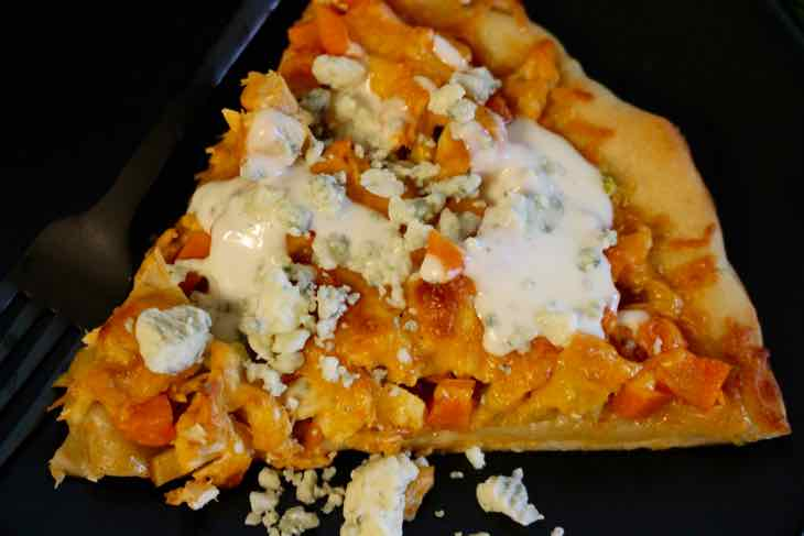 Buffalo Chicken Wing Pizza Topped with Blue Cheese