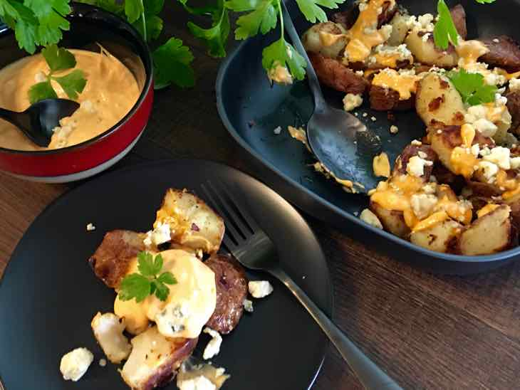 Buffalo Style Potatoes served with Blue Cheese Sauce