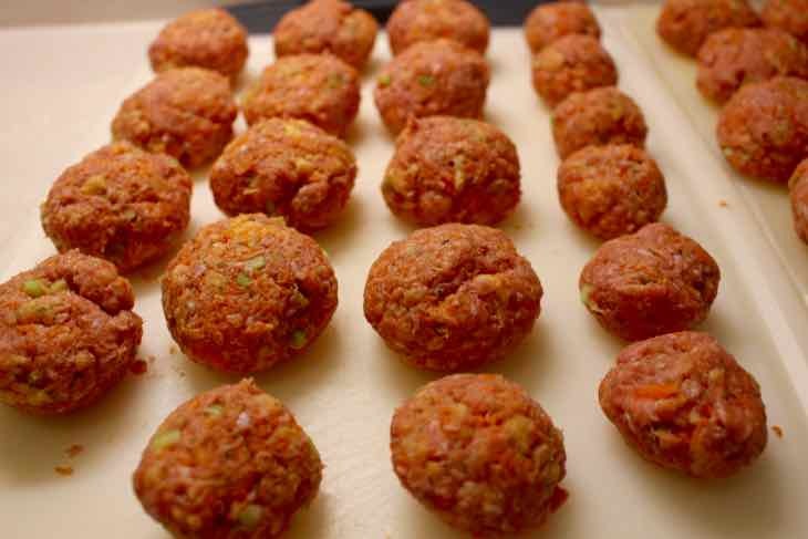 Buffalo Turkey Meatballs Prepared and Ready to brown