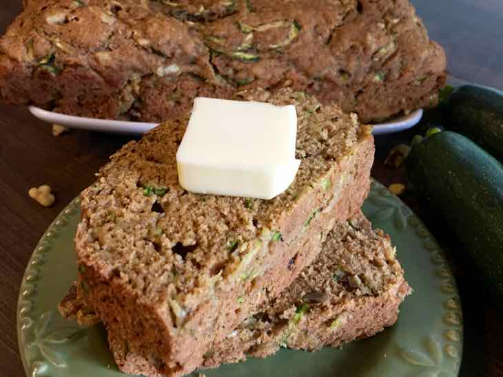 Healthy Zucchini Bread Served with Butter Cover