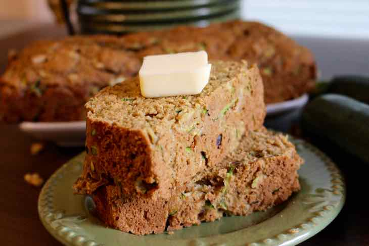 Healthy Zucchini Bread Served with Butter