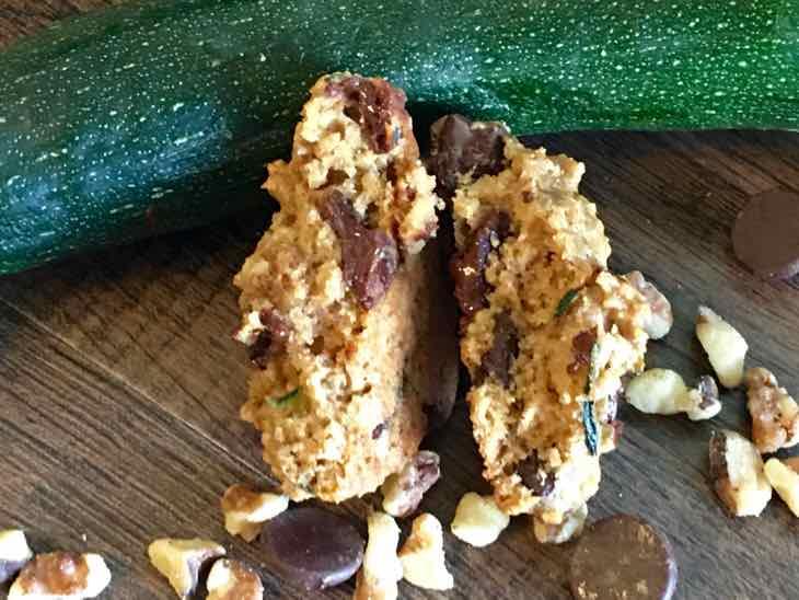 Zucchini Chocolate Chip Cookies Broken in Half