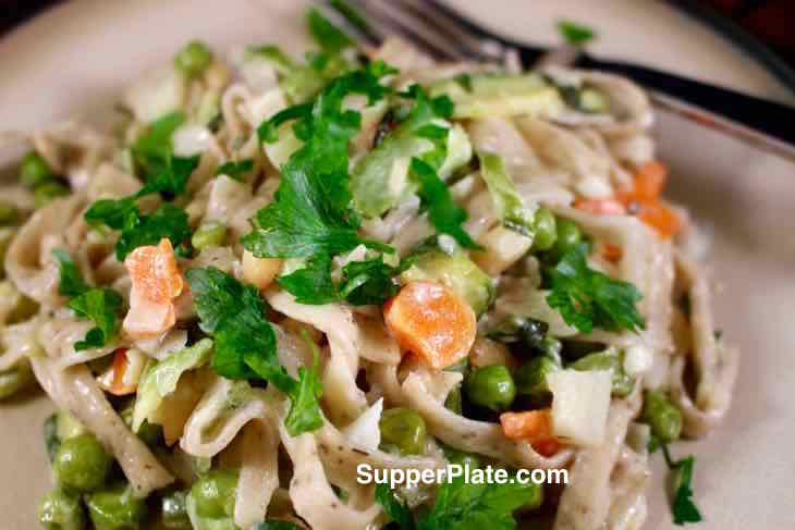 Linguini Primavera with Baby Spring Vegetables Plated