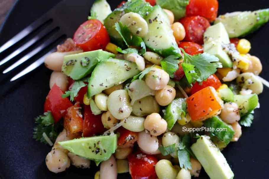 Garbanzo Bean Salad Closeup