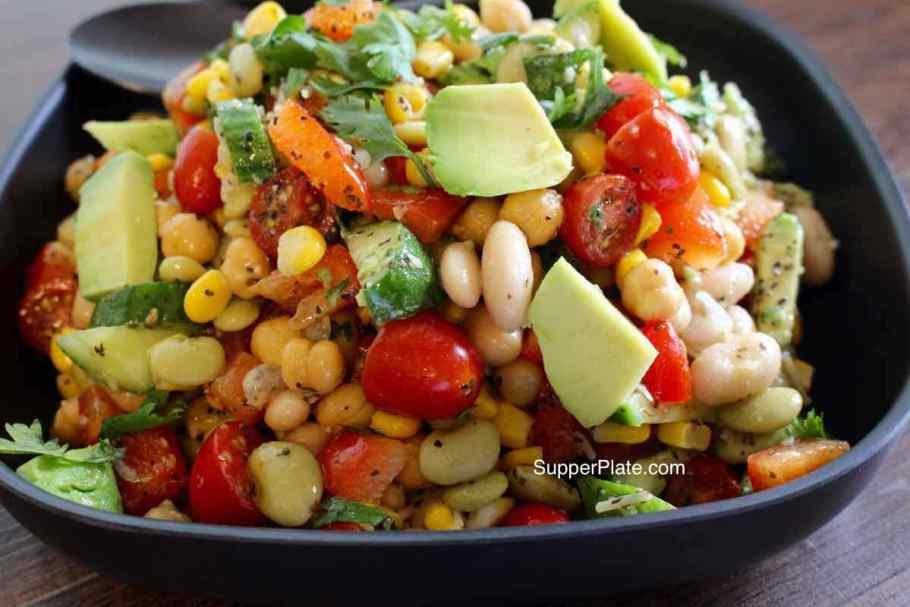 Garbanzo Bean Salad closeup in serving bowl