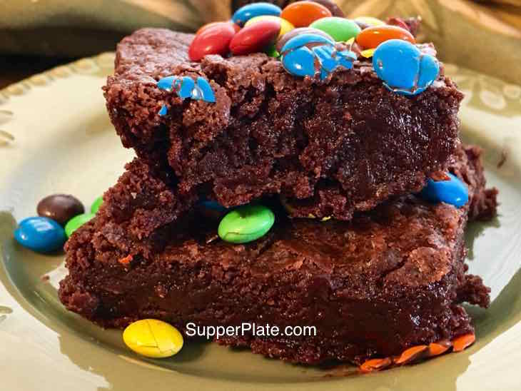 Ultimate Gooey Chocolate Brownies on a plate