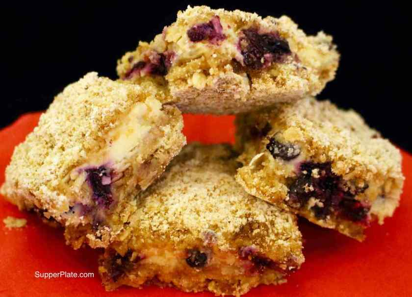 Blueberry Bars with Lemon Cream Filling - stacked for serving