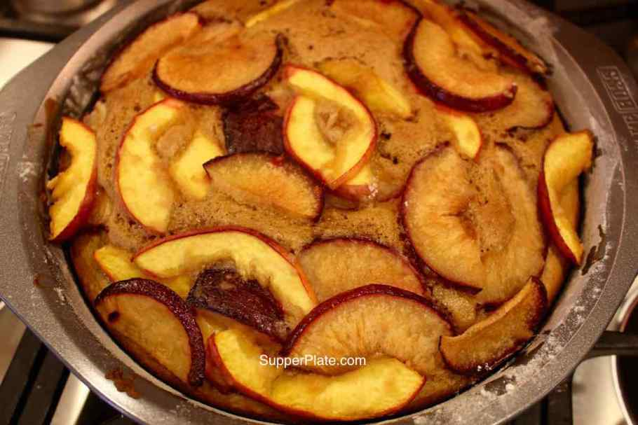 Baked out of oven Nectarine Upside Down Cake