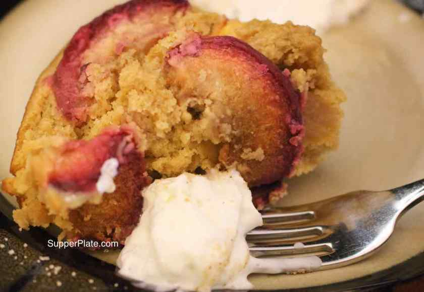 Nectarine Upside Down Cake with Whipped Cream