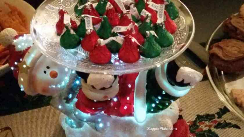Lighted Snowman Christmas candy plate with red and green hershey kisses.