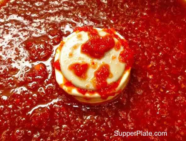 Hot Pepper Sauce In a Food Processor closeup