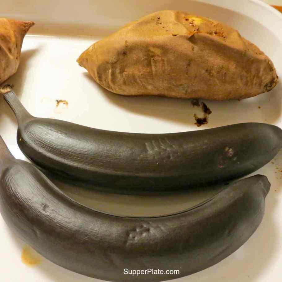 Roasted sweet potatoes and bananas