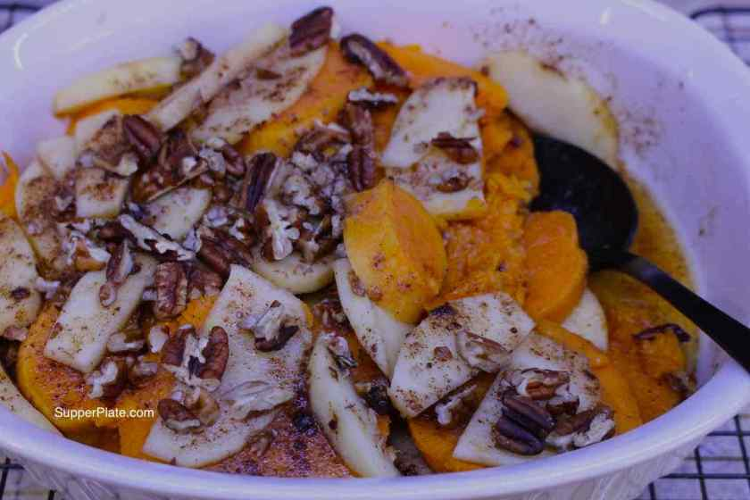 Sweet Potato and Apple Casserole in casserole pan