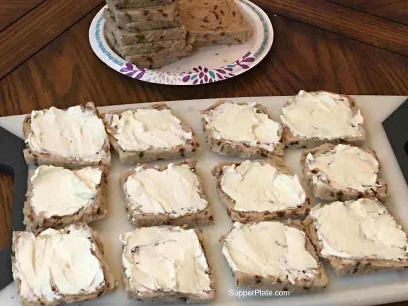 Add cream cheese to the bread
