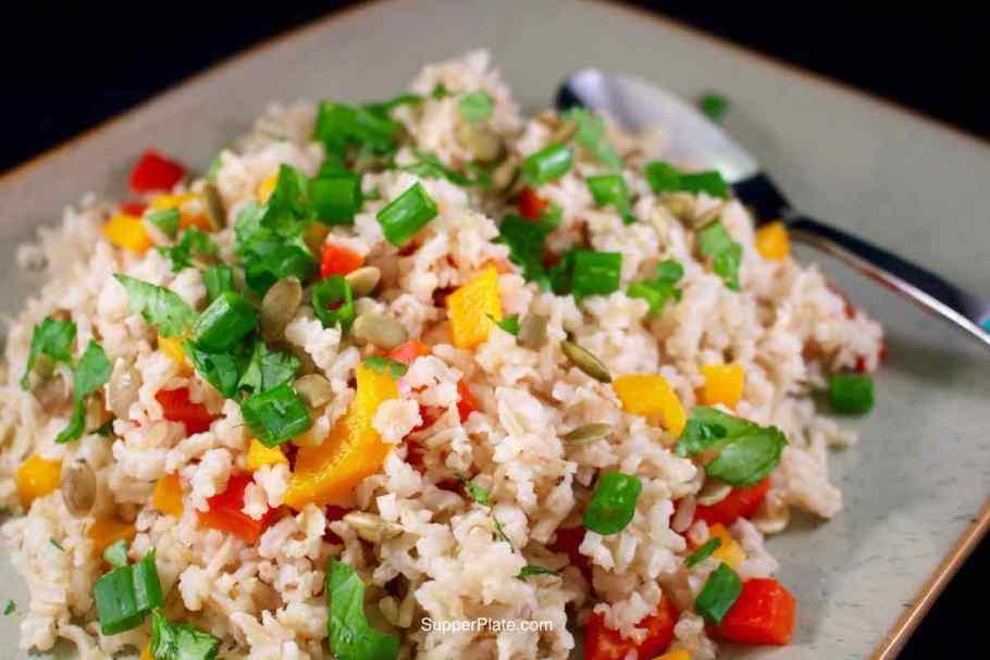 Basmati Vegetable Rice cooking side view