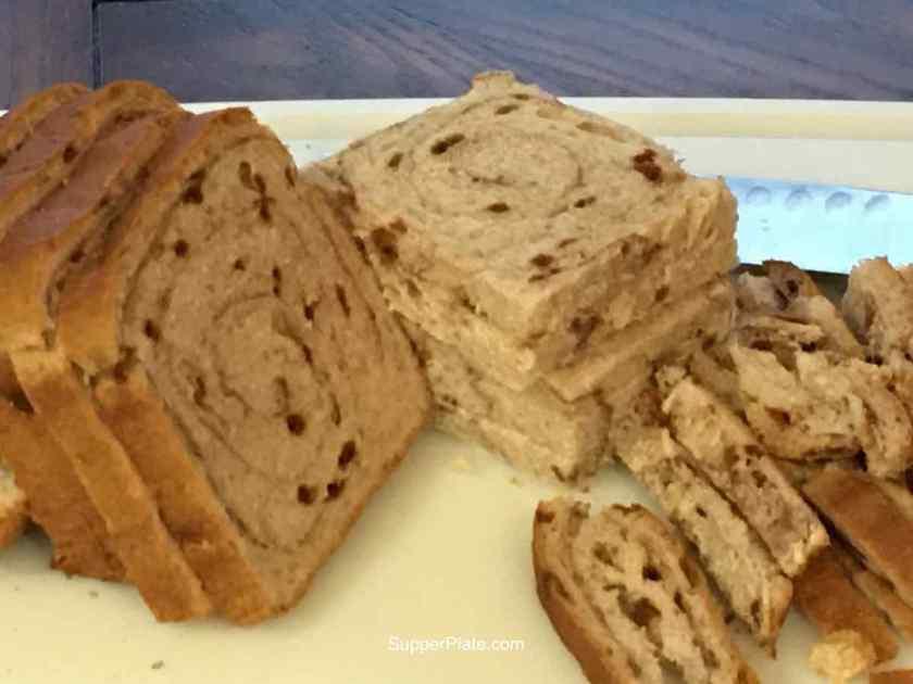 Cut off the cinnamon bread crust