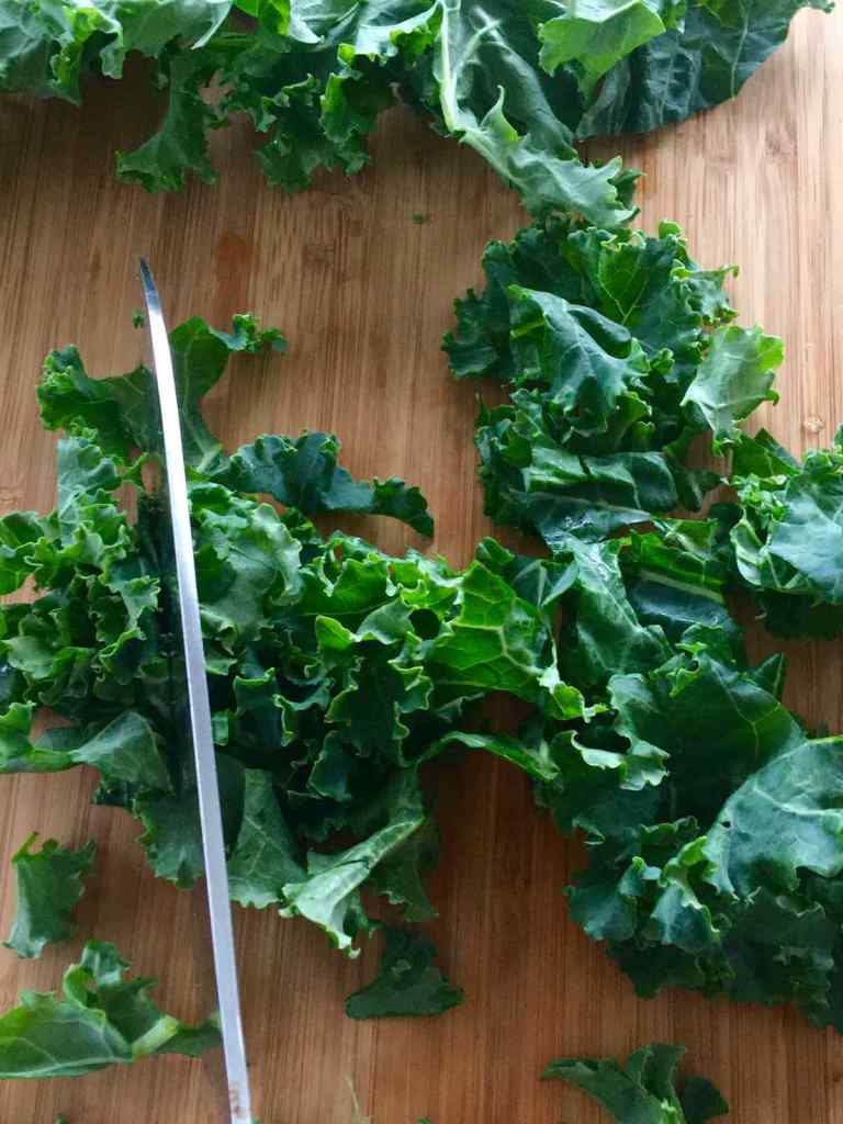Continue to chop the Kale into smaller pieces