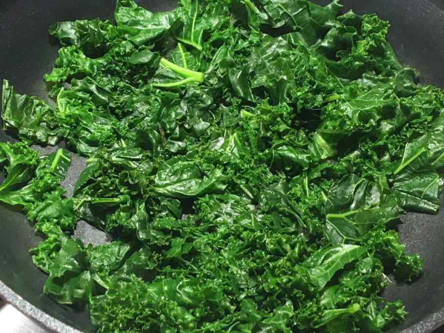Cooked Kale in frying pan