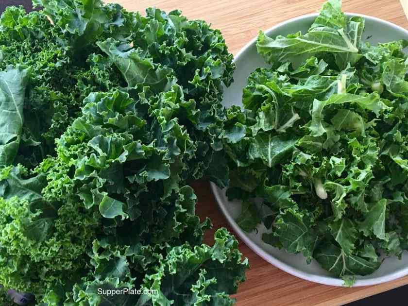 On the left is the leafy Kale on the right is the chopped Kale