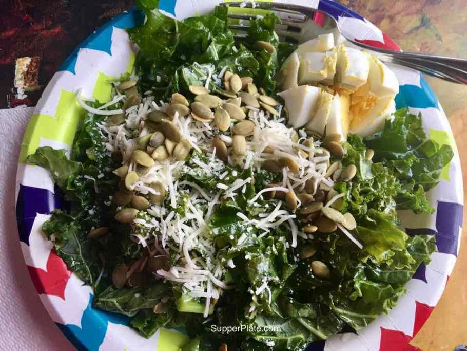 Kale salad with hard boiled egg sliced