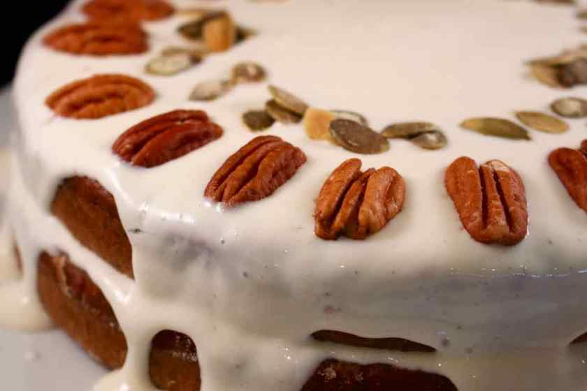 Raw Pumpkin seeds added to the cake decoration