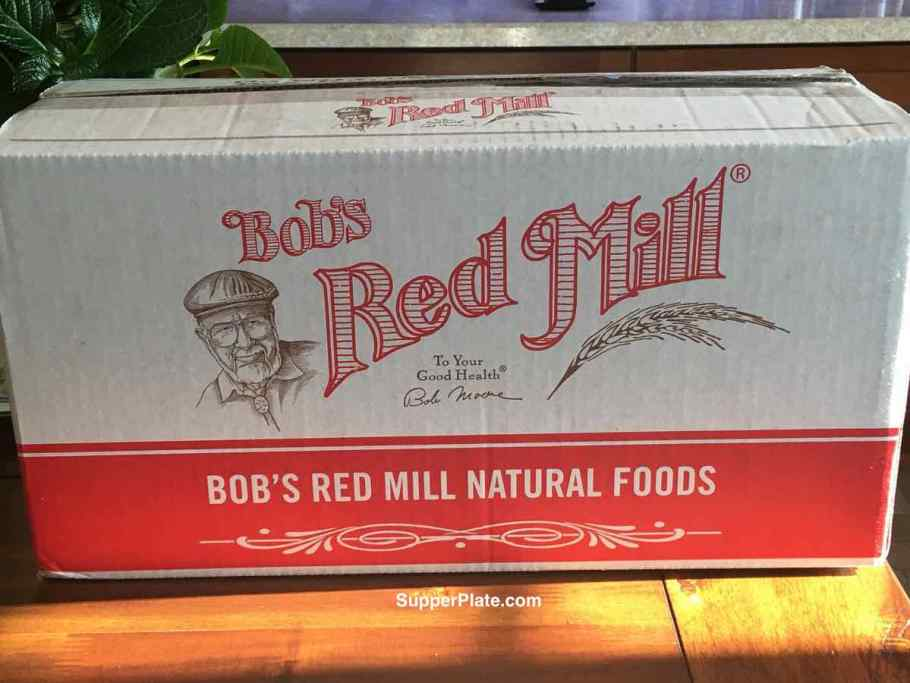 A box of Red Mill flour on a table