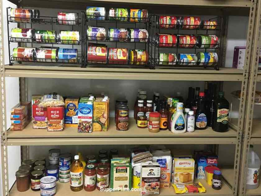 Pantry filled with cans and boxed ingredients