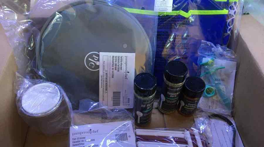 Pampered chef products in a box