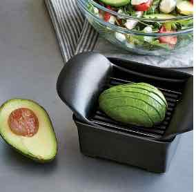 Pampered Chef Quick Slice with an avocado and a salad